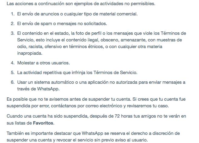 WhatsApp suspensión de servicio