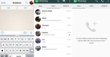 Interfaz de Whatsapp con llamadas