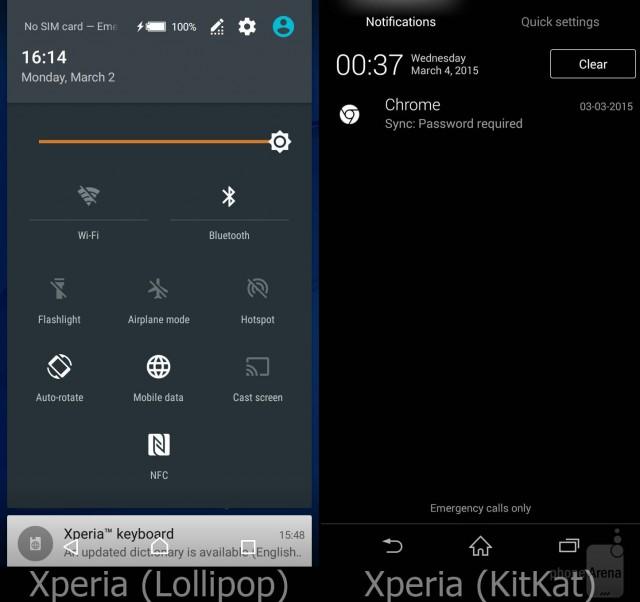 Interfaz de Xperia con Lollipop contra la de KitKat
