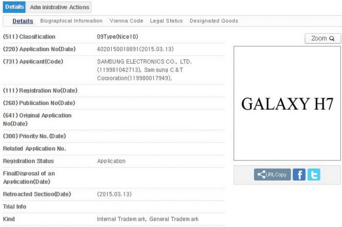 Registro del Galaxy H7
