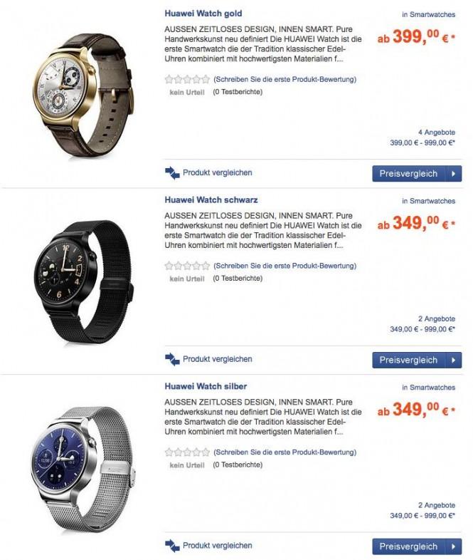 Precios del Huawei Watch en un sitio alemán