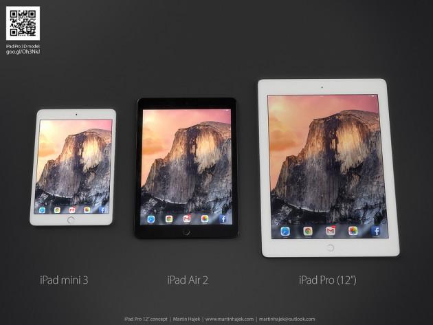Render no oficial mostrando el tamaño del iPad® Pro