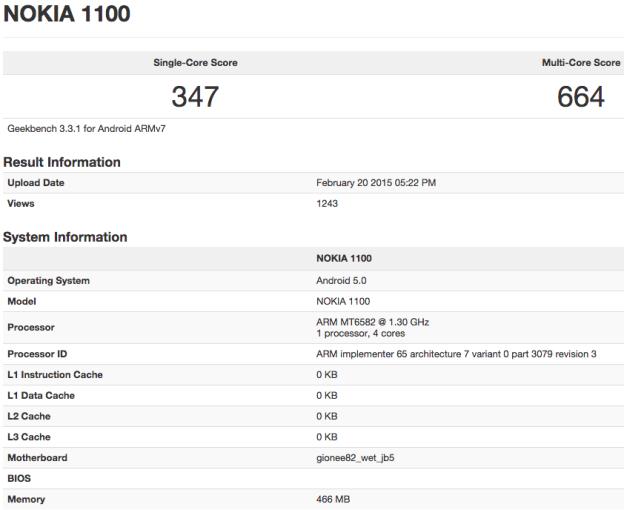 Prueba benchmark del Nokia 1100