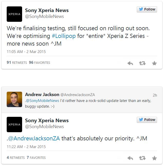 Sony habla sobre la actualización de Android 5.0 Lollipop