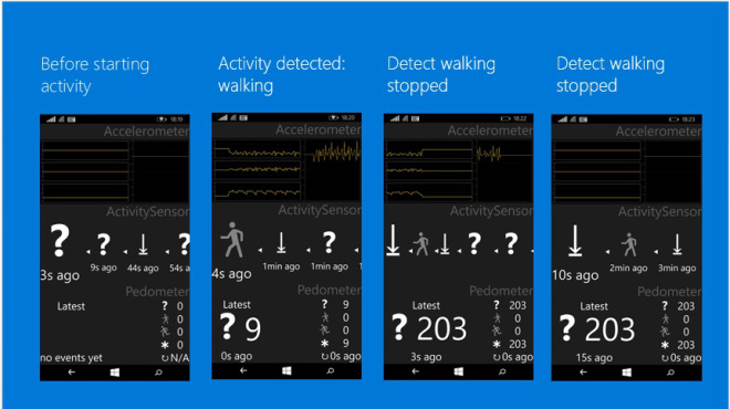 Capturas de pantalla de como los sensores monitorearan la actividad física en Windows 10 para teléfonos