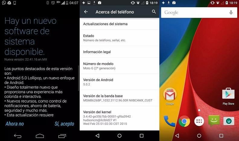 Android 5.0.2 Lollipop en el Moto G 2014 Nextel. Foto: Facebook de Héctor Garza