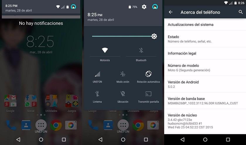 Moto G (2014) de Unefon con Android 5.0.2