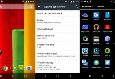 Moto G Forte con Android 5.0.2 Lollipop.