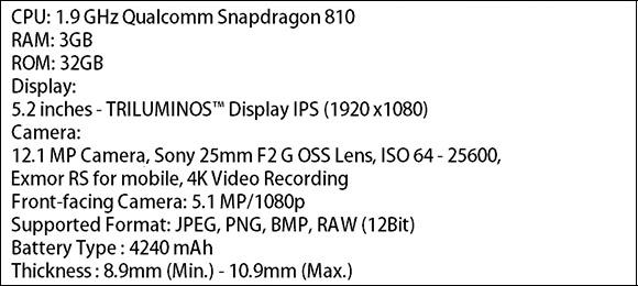 Supuestas especificaciones del Xperia P2