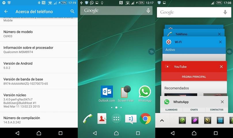 Android 5.0.2 en el Xperia Z1 de Telcel