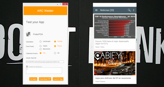 App de PoderPDA ejecutándose en PC con Windows 8.1