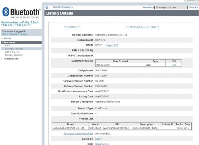 Certificación Bluetooth para el SM-G890A