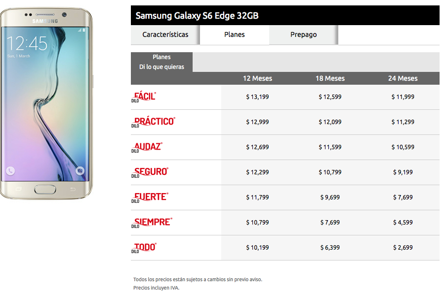 galaxy s6 edge 32 GB Iusacell planes