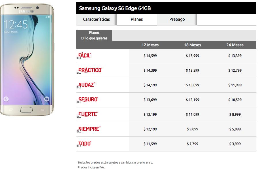 galaxy s6 edge 64 gb planes iusacell