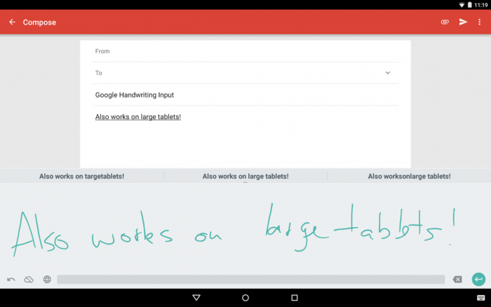 Escritura a mano de Google en tablets