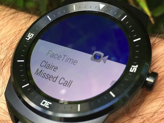 Llamada perdida de FaceTime en un LG G Watch R