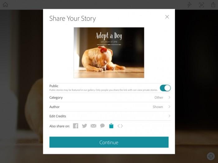 Opciones para compartir las creaciones de Adobe Slate