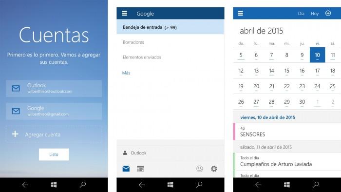 Aspecto de las mas recientes App de Outlook y Calendar