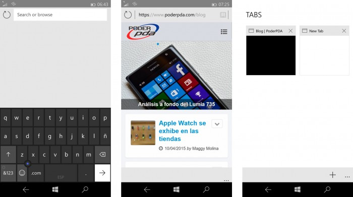 Interfaz de Project Spartan en Windows® 10 para moviles (PoderPDA)