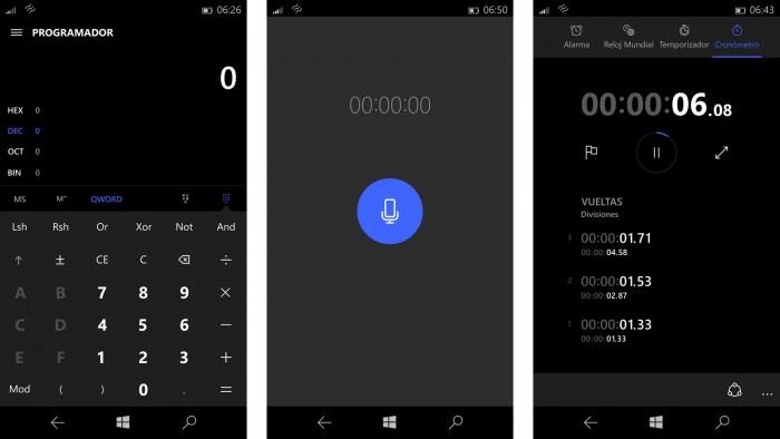 Aspecto de las utilidades en Windows® 10 (PoderPDA)