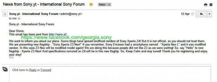 E-mail sobre los planes de Sony de lanzar un Xperia Z3 Neo