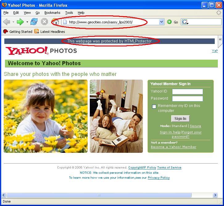 sitio de yahoo phishing