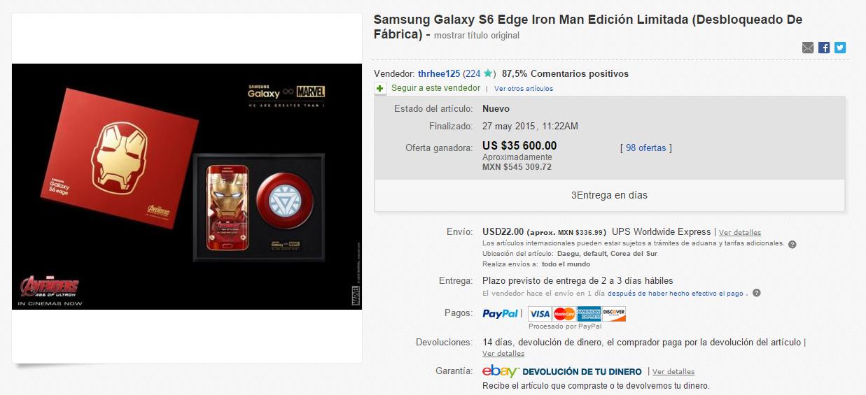 subasta-galaxy-s6-edge-iron-man-edition
