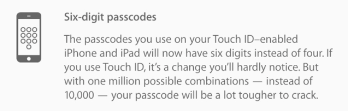 6 numeros touch id