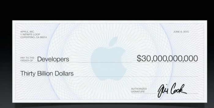 aple apps store cheque