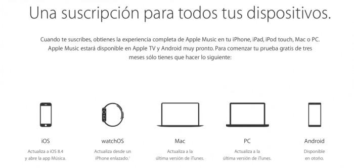 apple music mexico dispositivos