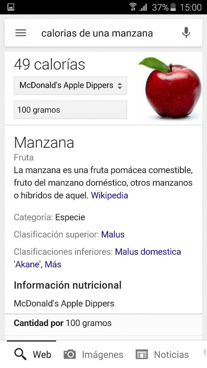 caloria manzana