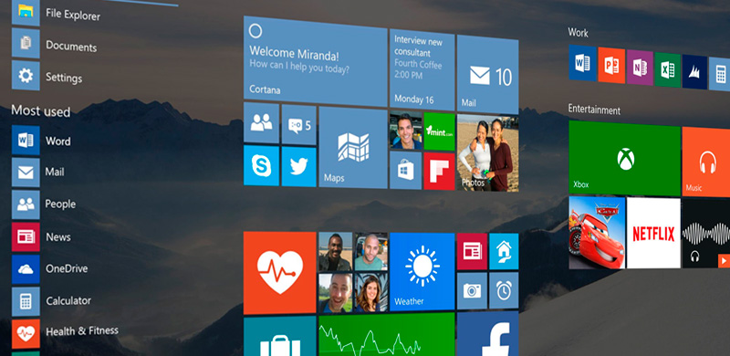 Windows 10 menu de inicio