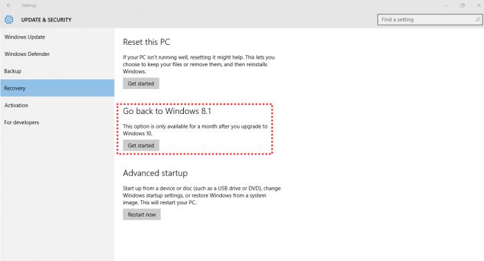 Menú de recuperación y actualización de Windows 10