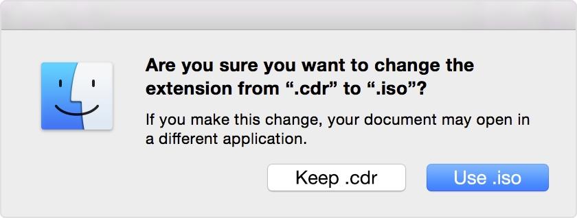 Cambia la extensión del ISO de .cdr a .iso