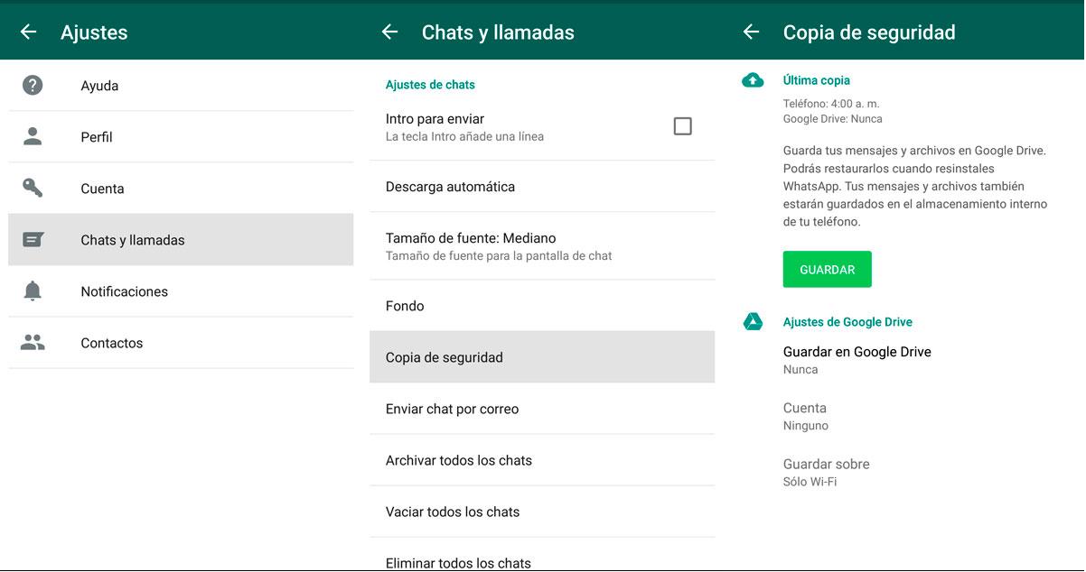 Como hacer copia de seguridad de WhastApp en Google Drive-2