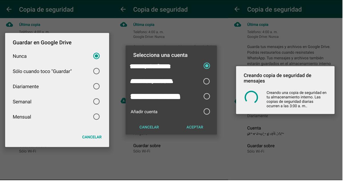 Como hacer copia de seguridad de WhastApp en Google Drive