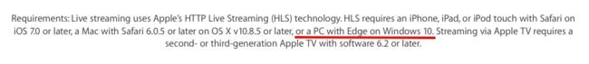 Microsoft Edge será soportado para el streaming de apple