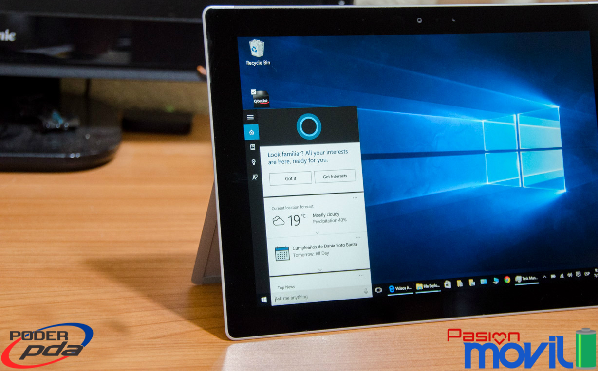 Cortana disponible en la Surface 3 en Windows 10