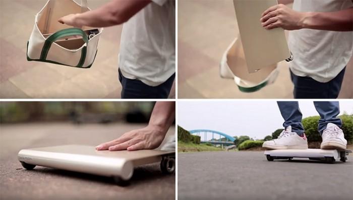 Transportar el Walkcar es tan sencillo como guardarlo en una bolsa/mochila.