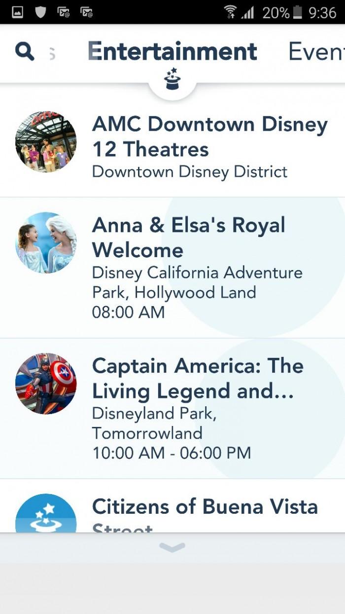 disneyland app entretenimiento