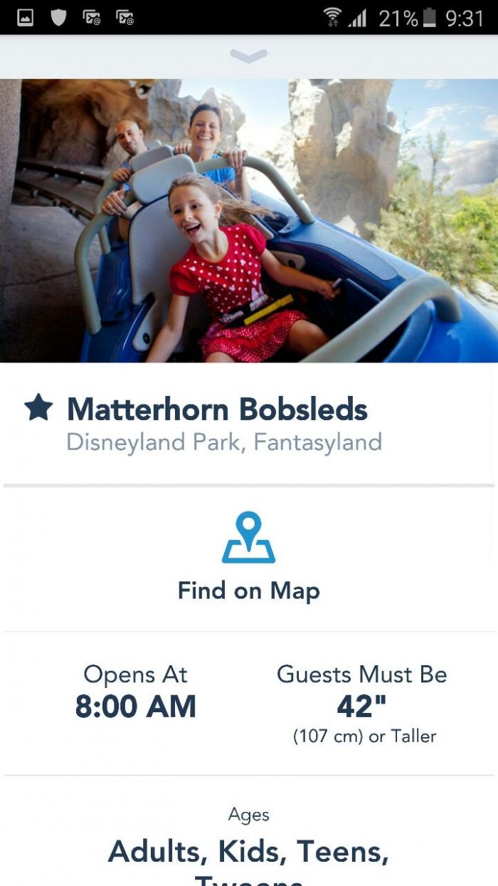 disneyland app matterhorn