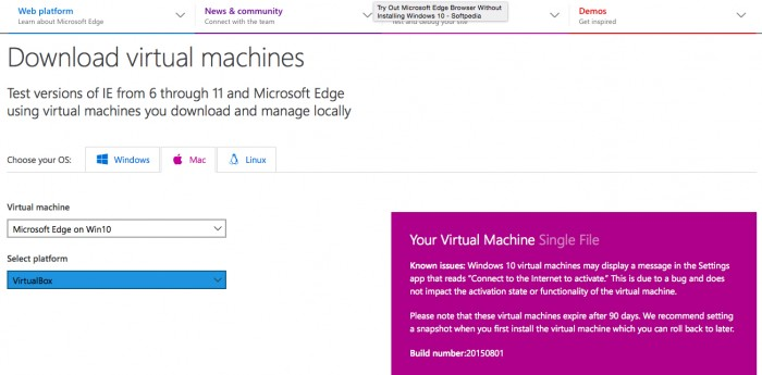 microsoft edge vm mac