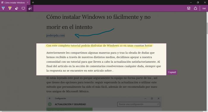Las notas en pantalla es de las mejores características de Microsoft Edge