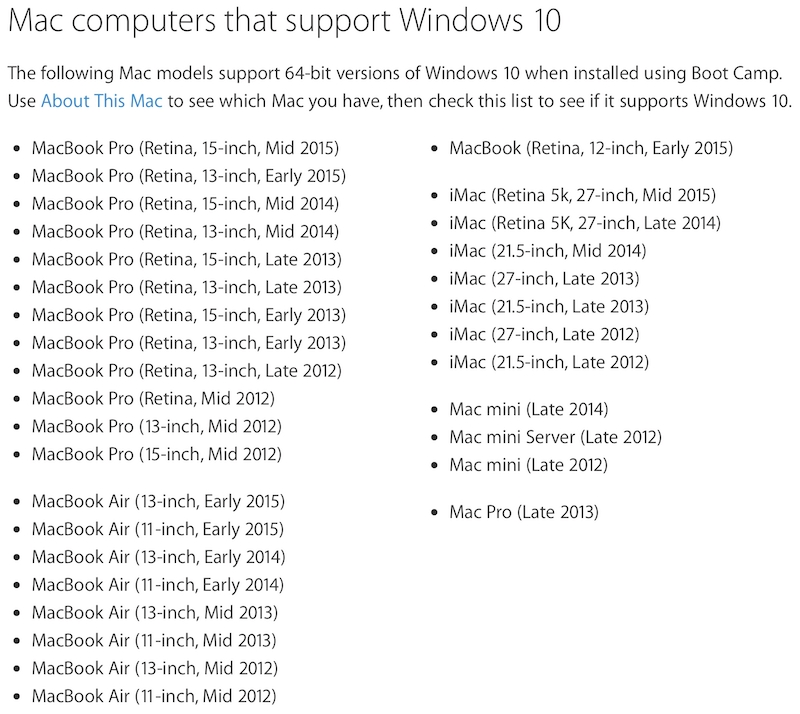 Ordenadores OS X compatibles con Boot Camp 6