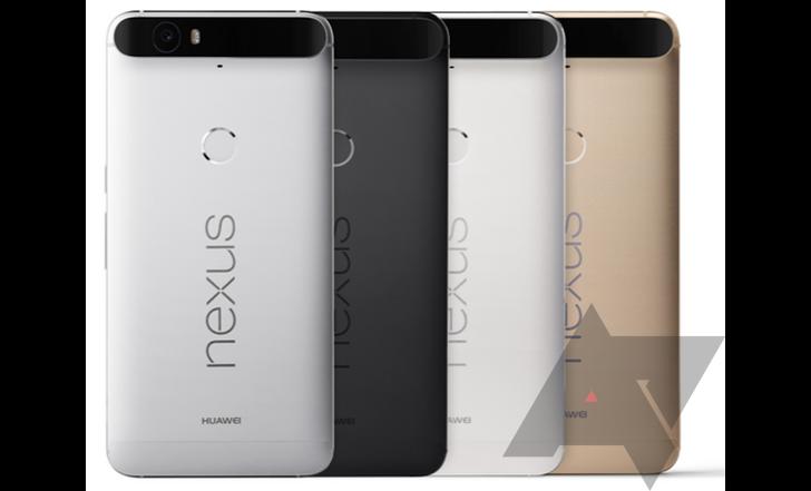Nexus 6P en colores blanco, negro, plateado y dorado