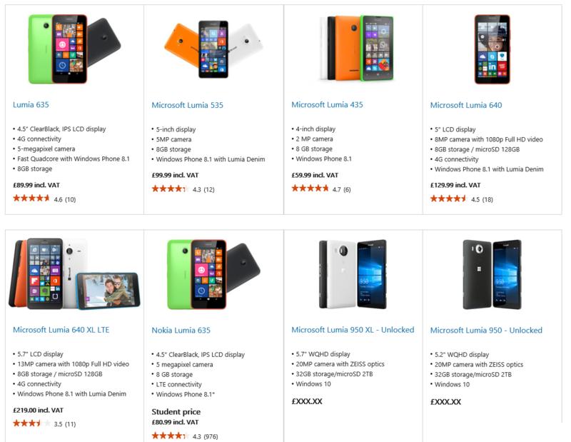Lumia 950 y Lumia 950 XL aparecen en la Microsoft Store de UK