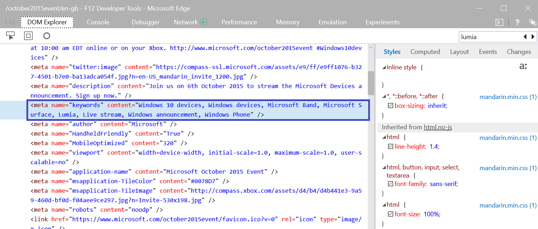 Microsoft Lumia keyworks pagina evento 6 de octubre