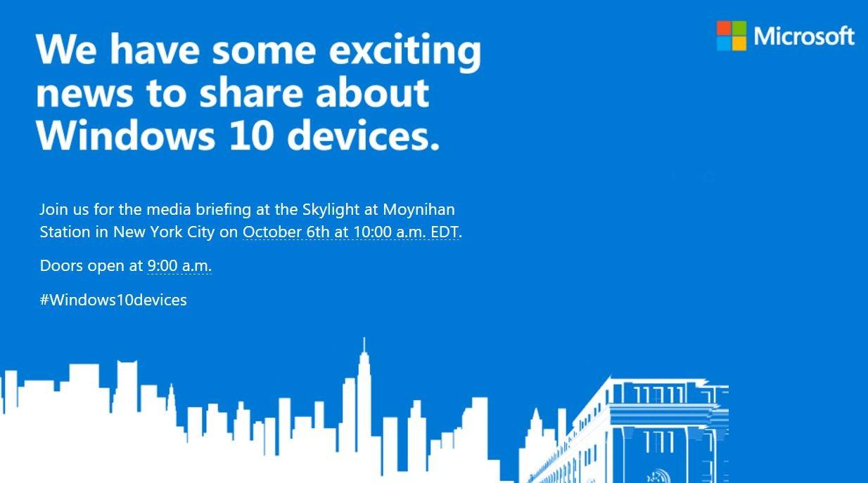 Microsoft anuncia evento para el 6 de octubre en Nueva York