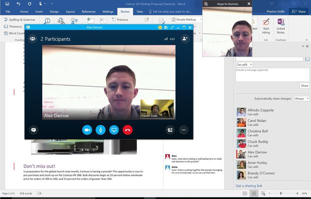 Skype for Business permite interactuar al momento de editar documentos