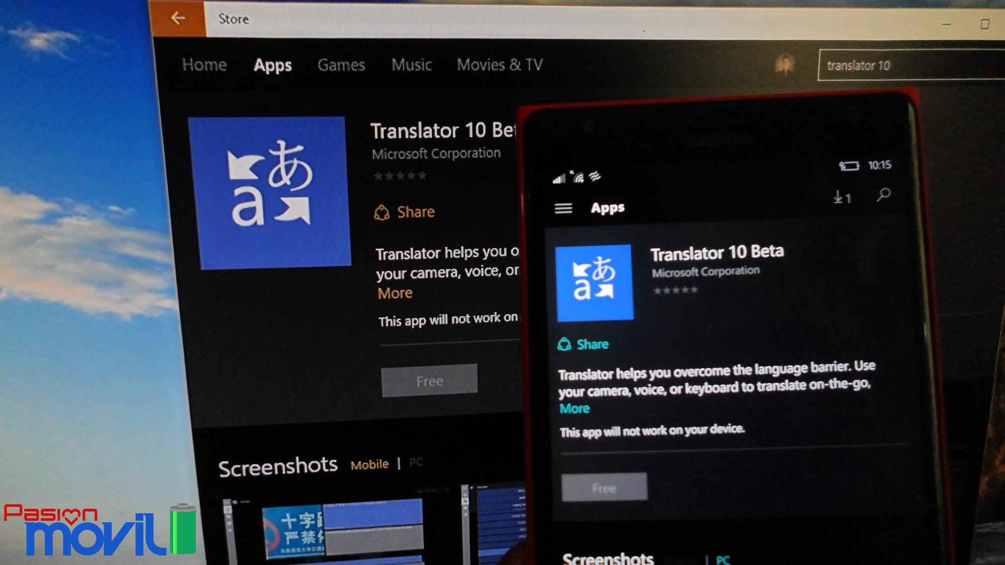 Traductor 10 app universal para windows 10